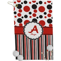 Red & Black Dots & Stripes Golf Towel - Full Print (Personalized)
