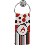 Red & Black Dots & Stripes Hand Towel - Full Print (Personalized)