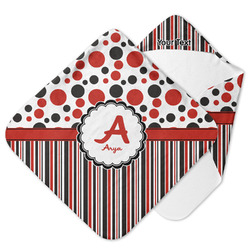 Red & Black Dots & Stripes Hooded Baby Towel (Personalized)