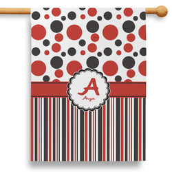 """Red & Black Dots & Stripes 28"""" House Flag - Double Sided (Personalized)"""