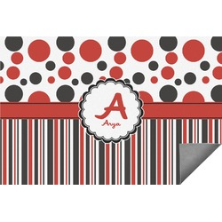 Red & Black Dots & Stripes Indoor / Outdoor Rug (Personalized)