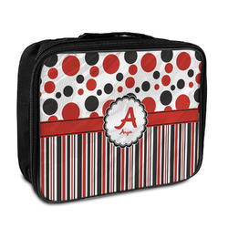 Red & Black Dots & Stripes Insulated Lunch Bag (Personalized)