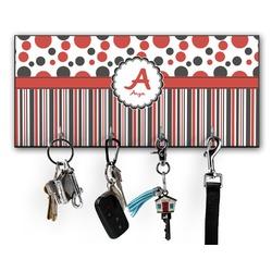 Red & Black Dots & Stripes Key Hanger w/ 4 Hooks (Personalized)