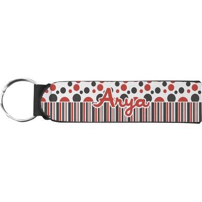 Red & Black Dots & Stripes Neoprene Keychain Fob (Personalized)