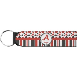 Red & Black Dots & Stripes Keychain Fob (Personalized)