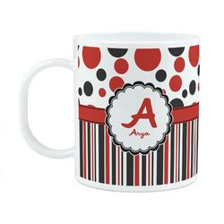 Red & Black Dots & Stripes Plastic Kids Mug (Personalized)