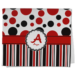 Red & Black Dots & Stripes Kitchen Towel - Full Print (Personalized)