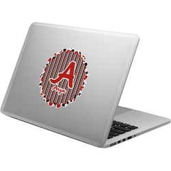 Red & Black Dots & Stripes Laptop Decal (Personalized)