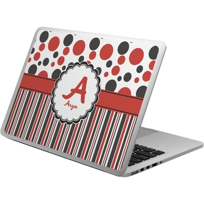 Red & Black Dots & Stripes Laptop Skin - Custom Sized (Personalized)