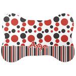 Red & Black Dots & Stripes Bone Shaped Dog Food Mat (Personalized)
