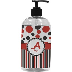 Red & Black Dots & Stripes Plastic Soap / Lotion Dispenser (Personalized)
