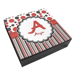 Red & Black Dots & Stripes Leatherette Keepsake Box - 3 Sizes (Personalized)