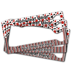 Red & Black Dots & Stripes License Plate Frame (Personalized)