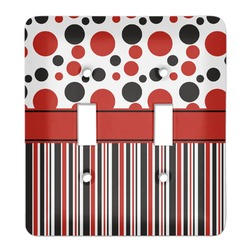 Red & Black Dots & Stripes Light Switch Cover (2 Toggle Plate) (Personalized)