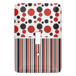 Red & Black Dots & Stripes Light Switch Covers (Personalized)