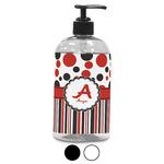 Red & Black Dots & Stripes Plastic Soap / Lotion Dispenser (Personalized)