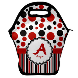 Red & Black Dots & Stripes Lunch Bag w/ Name and Initial