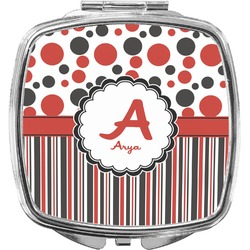 Red & Black Dots & Stripes Compact Makeup Mirror (Personalized)