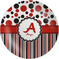 Red & Black Dots & Stripes Melamine Plate (Personalized)