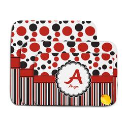 Red & Black Dots & Stripes Memory Foam Bath Mat (Personalized)