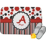 Red & Black Dots & Stripes Memory Foam Bath Mat (Personalized)