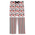 Red & Black Dots & Stripes Mens Pajama Pants (Personalized)