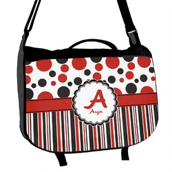 Red & Black Dots & Stripes Messenger Bag (Personalized)