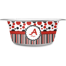 Red & Black Dots & Stripes Stainless Steel Dog Bowl (Personalized)