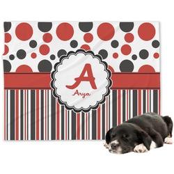 Red & Black Dots & Stripes Minky Dog Blanket (Personalized)