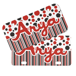 Red & Black Dots & Stripes Mini/Bicycle License Plates (Personalized)