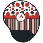 Red & Black Dots & Stripes Mouse Pad with Wrist Support