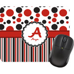Red & Black Dots & Stripes Mouse Pads (Personalized)