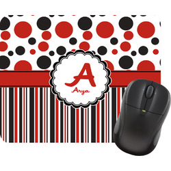 Red & Black Dots & Stripes Rectangular Mouse Pad (Personalized)