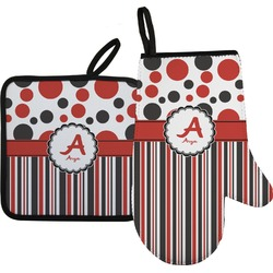 Red & Black Dots & Stripes Oven Mitt & Pot Holder (Personalized)