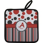 Red & Black Dots & Stripes Pot Holder (Personalized)