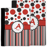 Red & Black Dots & Stripes Notebook Padfolio w/ Name and Initial