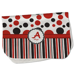 Red & Black Dots & Stripes Burp Cloth - Fleece w/ Name and Initial