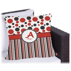 """Red & Black Dots & Stripes Outdoor Pillow - 26"""" (Personalized)"""