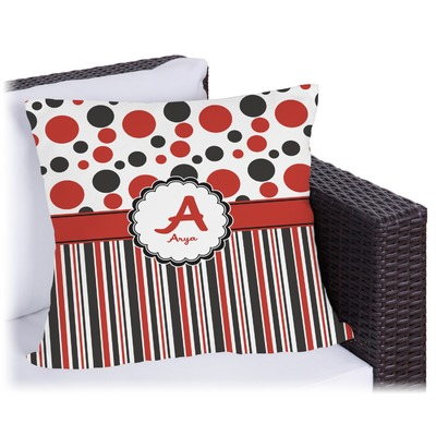 Red & Black Dots & Stripes Outdoor Pillow (Personalized)
