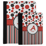 Red & Black Dots & Stripes Padfolio Clipboard (Personalized)