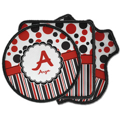Red & Black Dots & Stripes Iron on Patches (Personalized)