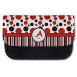 Red & Black Dots & Stripes Canvas Pencil Case w/ Name and Initial