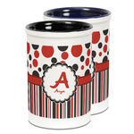 Red & Black Dots & Stripes Ceramic Pencil Holder - Large