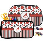 Red & Black Dots & Stripes Pencil / School Supplies Bag (Personalized)