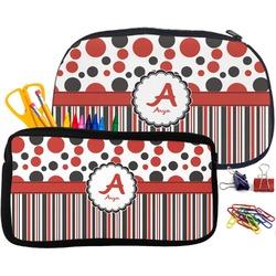 Red & Black Dots & Stripes Neoprene Pencil Case (Personalized)
