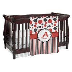 Red & Black Dots & Stripes Baby Blanket (Personalized)