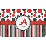 Red & Black Dots & Stripes Bath Mat (Personalized)