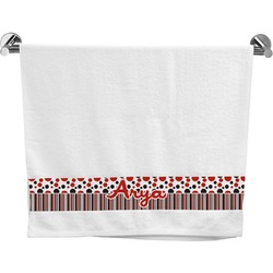 Red & Black Dots & Stripes Bath Towel (Personalized)