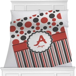 """Red & Black Dots & Stripes Fleece Blanket - Queen / King - 90""""x90"""" - Double Sided (Personalized)"""