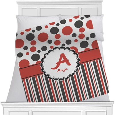 Red & Black Dots & Stripes Minky Blanket (Personalized)